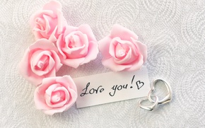 Picture hearts, I love you, pink, romantic, hearts, gift, roses, pink roses