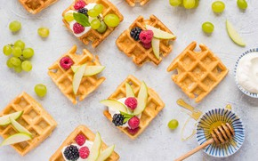 Picture berries, raspberry, Apple, honey, grapes, waffles