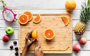 Picture oranges, fruit, pineapple, peach, fruit dragon