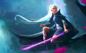 Picture look, girl, hair, beauty, sword, art, blonde, cloak, Nima