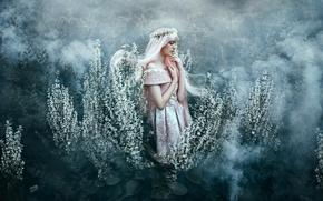 Picture girl, fog, mood, dress, wreath, Bella Kotak, Under your spell