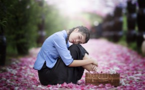 Picture look, girl, pose, mood, petals, Asian, flowers, bokeh