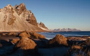 Picture sea, coast, Iceland, cliffs