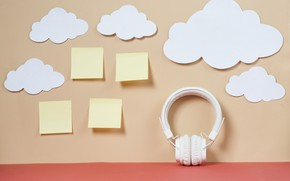 Picture clouds, paper, Music, headphones