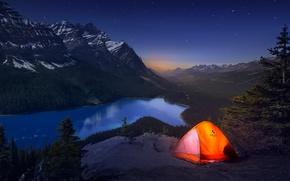 Wallpaper light, mountains, night, Canada, tent, journey