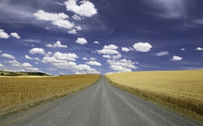 Picture road, clouds, wheat, countryside, farm, wheat field, sunny, farmland, countryside scene