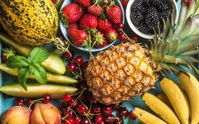 Picture cherry, strawberry, bananas, fruit, pineapple, peaches, BlackBerry