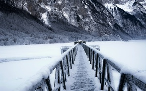 Picture winter, mountains, bridge, lake