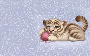 Picture tangle, the game, kitty, children's, Animals, Aleksandra Chelysheva, tigrushka