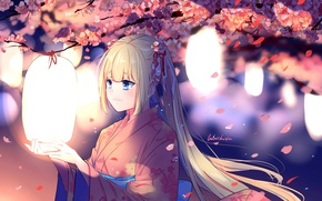 Picture the wind, Sakura, girl, kimono, lanterns, flowering, long hair, art, Lluluchwan