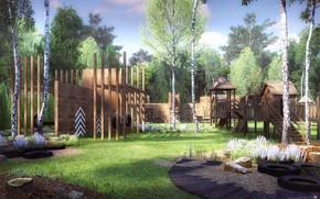 Picture forest, buildings, lawn, Playground, CHILDREN'S PLAYHOUSES