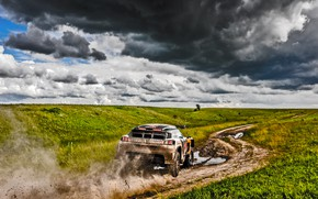 Picture Field, Sport, Speed, Clouds, Race, Dirt, Peugeot, Lights, Russia, Red Bull, Rally, Rally, Sport, DKR, …