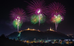 Wallpaper the city, landscape, fireworks, mountains, holiday, the evening, beauty