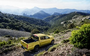 Picture trees, landscape, mountains, stones, yellow, vegetation, Mercedes-Benz, pickup, relief, shrub, 2017, X-Class