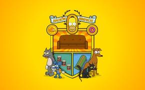 Picture The simpsons, Figure, Sofa, Logo, Homer, Simpsons, Bart, Coat of arms, Animals, Art, Snow, Cartoon, …