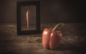 Wallpaper dream, reflection, paprika, mirror, pepper