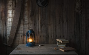 Wallpaper fire, kerosene stove, tree, Board, heat, lamp, saw, kerosene lamp, books, table