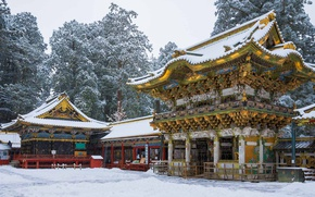Picture winter, snow, holiday, Japan, pagoda