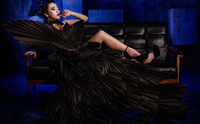 Picture pose, style, feet, model, makeup, dress, shoes, Asian