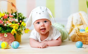 Picture look, flowers, basket, hat, child, eggs, spring, Easter, baby, Easter, Holidays, Eggs, Infants