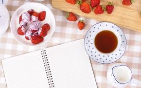Picture berries, tea, Breakfast, milk, strawberry, Notepad, drink