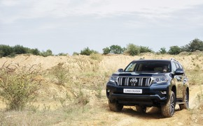 Picture sand, the sky, vegetation, SUV, Toyota, 4x4, Land Cruiser, the five-door