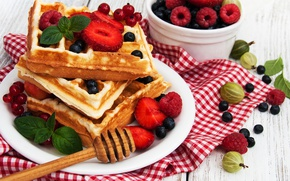 Picture berries, raspberry, Breakfast, blueberries, waffles, breakfast, fresh berries