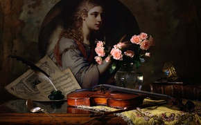 Picture notes, violin, roses, picture