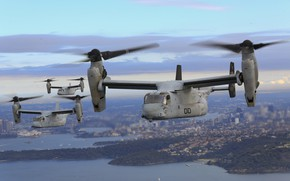 Wallpaper Osprey, MV-22B, convertiplane, flight