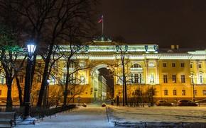Picture winter, road, snow, trees, night, lights, street, home, lights, Saint Petersburg, Russia, Senate square, Senate ...