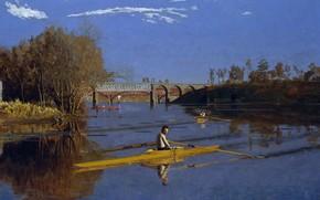 Picture bridge, sport, picture, kayak, Thomas Cowperthwaite Eakins, The champion Max Schmitt in a Single Sculls