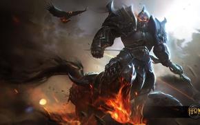 Wallpaper bird, warrior, bow, helmet, centaur, art, Archer, armor, Heroes of Newerth, Emerald Warden, Dragoon, Daemon
