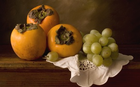 Picture grapes, fruit, persimmon