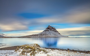 Picture sea, nature, mountain, Iceland, Kirkjufell