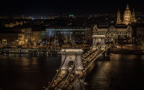 Wallpaper river, The Danube, Budapest, night, Hungary, lights, panorama, Chain bridge
