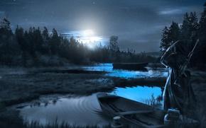 Picture night, glow, boats, Stalker, pond, observation