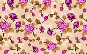 Picture flowers, roses, weave