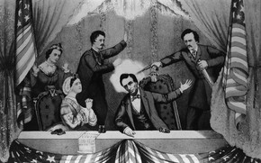 Picture revolver, flag of America, The Murder Of Abraham Lincoln, John Wilkes Booth
