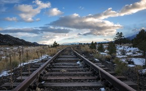 Wallpaper railroad, perspective, nature