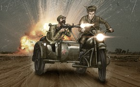 Picture war, motorcycle, men, comic, machine gun