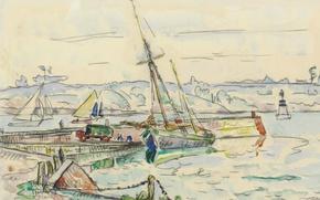 Picture figure, watercolor, Paul Signac, Lézardrieux. Sailboat at the Dock
