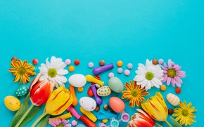 Picture flowers, flowers, Happy, spring, the painted eggs, eggs, chrysanthemum, tulips, tulips, Easter, Easter, colorful, decoration, …