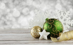 Wallpaper star, decoration, balls, new year, holiday, tape, snowflake