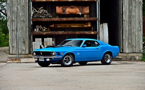 Picture Ford Mustang, blue, muscle car, 1970, Fastback, old, classic, original, Boss 429