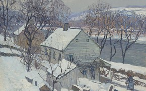Picture winter, landscape, house, river, picture, Edward Willis Redfield, Edward Redfield, Lamberville