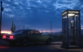 Picture post, booth, car, Desert Gas Station, Golden Gasoline
