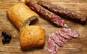 Picture bread, sausage, olives