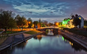 Picture night, bridge, lights, house, England, channel, Long Eaton
