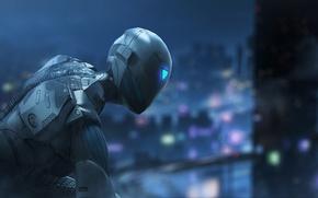 Picture city, game, robot, armor, night, ninja, cyborg, shinobi, Raw Data