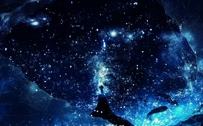 Picture girl, space, fantasy, whales, Y_Y